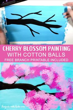 Cherry Blossom Painting with Cotton Balls Cherry Blossom Painting with Cotton Balls Projects with Kids projectswithkids Art Projects for Kids Kids will love using cotton balls nbsp hellip videos for kids Kids Crafts, Winter Crafts For Kids, Spring Arts And Crafts, Diy Arts And Crafts, Kids Diy, Creative Crafts, Yarn Crafts, Bead Crafts, Spring Art Projects