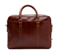 La Portegna spanish dark brown leather bag for documents and 15 inch notebook Fat Carter ( art.1151 ), $499