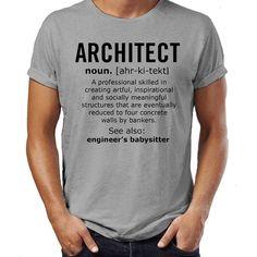 Arquitecto definición Sustantivo trabajo hombres mujeres T divertida camiseta regalo de Navidad para mamá papá él su humor camiseta regalo gracioso Mens Tee