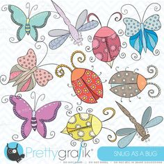 bugs & insects clipart commercial by Prettygrafik Design on Creative Market