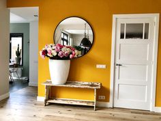 Yellow Walls Living Room, Mustard Living Rooms, Blue Bedroom Walls, Living Room Grey, Living Room Kitchen, Paint Colors For Home, House Colors, Home Design Decor, House Design