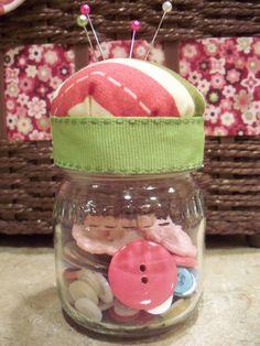 The Life of Jennifer Dawn: Baby Food Jar Pin Cushion Tutorial (Repurposed Baby Food Jar--Part 1)