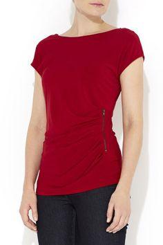 Plain Red Side Zip Top
