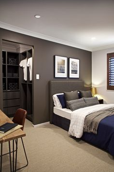 Clarendon Homes. Armadale Third bedroom with walk-in-robe and space for a study desk. Small Room Interior, Master Bedroom Interior, Modern Bedroom, Bedroom Setup, Room Decor Bedroom, Clarendon Homes, Bookshelves In Bedroom, Boys Room Design, Teen Room Decor