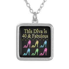 40 AND FABULOUS SHOE QUEEN DESIGN SILVER PLATED NECKLACE Enjoy our fabulous selection of 40th birthday jewelry. http://www.zazzle.com/jlpbirthday/gifts?cg=196901469086304704&rf=238246180177746410  #40thbirthday #40yearsold #Happy40thbirthday #40thbirthdaygift #40thbirthdayidea #happy40th #40thbirthday