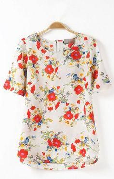 Floral Printing High-low Hem Sweet Short Sleeve Blouse