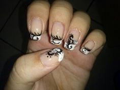 #diy #nailart #french tip #black #design