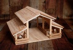 Handmade Wood Toy Barn with 4 Stalls
