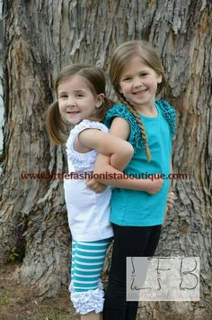 There is no better friend than a sister!  Don't miss our release on Thursday March 23rd at 8pm est. We will have white and teal icing flutter tops. Teal and white stripe capris and black button capris.