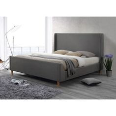 Shop for Bedford Linen Grey Upholstered King Platform Bed. Get free shipping at Overstock.com - Your Online Furniture Outlet Store! Get 5% in rewards with Club O! - 20906529