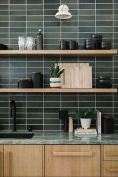 Kitchen Interior, New Kitchen, Kitchen Decor, Moodboard Interior, Green Marble, Green Tiles, Interior Desing, Cuisines Design, Küchen Design