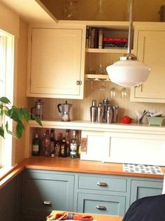Painted Cabinets - Blue on Bottom, Cream on Top