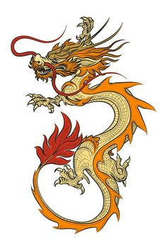 Dragon Illustration, Illustration Vector, Dragon Images, Dragon Pictures, Dragon Line, Chinese Dragon Tattoos, Chinese Dragon Art, Dragon Sketch, Dragon Tattoo Designs