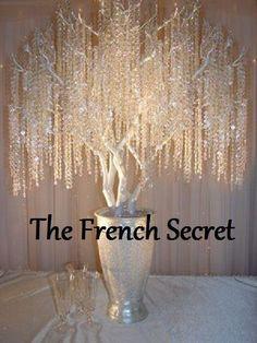 Crystal Garland White Wedding Centerpiece Decoration Reception Shabby Vintage Wishing tree crystal beads manzanita tree Decor