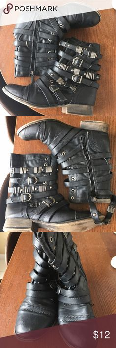 Breckelles black leather moto boots buckles straps Breckelle's boots. Size 7. Zipper on one side. Belts and buckle straps in the other side. Moveable pieces. Lace up and vintage look. Really good condition. Breckelles Shoes Combat & Moto Boots