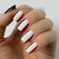Rohinton Mistry A Fine Balance Book nail art: three color colour design: white (Zoya Purity), black (Zoya Raven) and red (Zoya Sooki) stripes #DD2013 #geometric #easy #clean #primary #retro #summer #autumn #fall #nailart #manicure 2013   #Manicurator