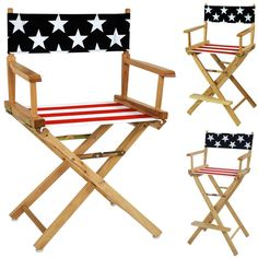 American Flag Cotton Duck Canvas Seat Cover Solid Wood 18/24/30H Director  Chair