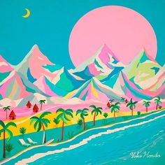 Yoko Honda | A R T N A U - love the colourful mountains! What a way to reimagine the hues of nature