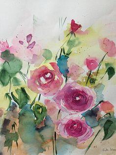 ORIGINAL AQUARELL Aquarellmalerei Wiesenblumen Bild Kunst Art Watercolor Flowers Handmade