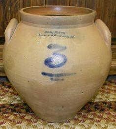 Antique Mid 1800's 19c Unique Ovoid Stoneware Crock * LARGE 3 Gal J. Hart & Son (10/09/2013)