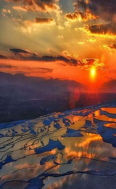 rujinav:  Sunset in Pamukkale, Turkey, breathtaking, panorama, water, reflection, colour, sun, clouds, landscape, amazing, fabulous, photo.