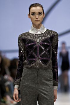 Line Knitwear F/W '12   Suede triangles crocheted together with contrast yarn against grey