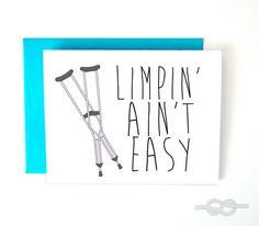 Get Well Soon Card Broken Bone Card Broken Leg Card by KnottyCards