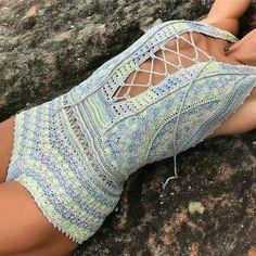 Fabulous Crochet a Little Black Crochet Dress Ideas. Georgeous Crochet a Little Black Crochet Dress Ideas. Crochet Shorts, Crochet Blouse, Crochet Clothes, Crochet Bikini, Knit Crochet, Crochet Summer, Irish Crochet, Vanessa Montoro, Crochet Lingerie