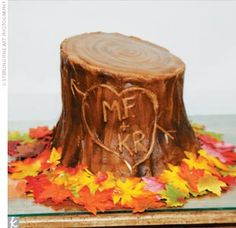 Tree Trunk for a groom's cake. Love this! I have to have this cake because John John always carves our names into trees!
