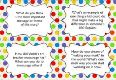 Love the freebies on her TPT page: http://www.teacherspayteachers.com/Product/FREE-International-Dot-Day-Discussion-Cards-864430  #DotDay