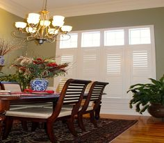 these shutters work great with the formal dcor of this dining room and see how they left the top casement windows treatment free this allows for lots of - Louvered Dining Room Decor