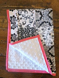 Black And White Floral Baby Quilt by mockingbirdhome on Etsy, $35.00