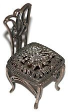 Sterling silver marcasite and pearl chair box - trinket Lot 438
