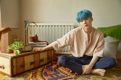 BTS HER CONCEPT PHOTO OMG BLUE HAIR YOONGI I THOUGHT HE WAS BLONDE BIGHIT TREATS ME LIKE A POTATO