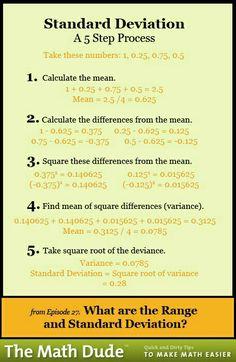 Math Dude What are the Range and Standard Deviation?What are the Range and Standard Deviation? Calculus, Algebra, Statistics Help, Statistics Cheat Sheet, Statistics Humor, Gre Prep, 6 Sigma, Standard Deviation, Math Help