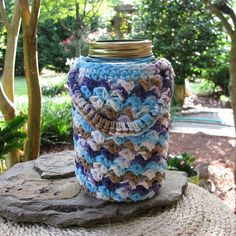 Handled Cozy for QUART size Mason jar cup by BusyHandsAftercrafts