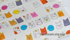 Colorful Fortune Cat Fabric, Cute Cat Cotton Linen Fabric, Baby Kids Quilting Fabric - Fabric by the