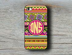 Personalized Monogram iPhone 4s case 5 5s geometric - Tribal, aztec preppy