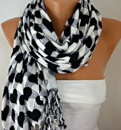 ON SALE  Heart Scarf  Pashmina Scarf  Cotton Scarf by fatwoman,