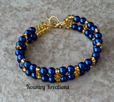 BLUE AND GOLD Glass Pearls and Beads by KountryKreations2008, $15.95