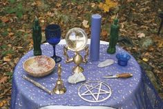 Pagan or Wiccan blue-violet with cresent moons table altar cloth.