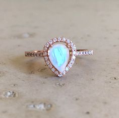 Rose Gold Moonstone Engagement Ring Halo Pear Shape by Belesas