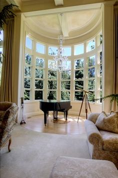 Love these windows.  I would make it more casual though - perfect for a window seat/reading nook.