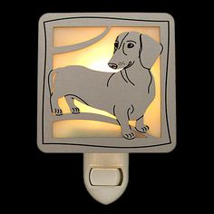 Dachshund Art Glass Dog Night Lights - On/Off or Light Activated Bases