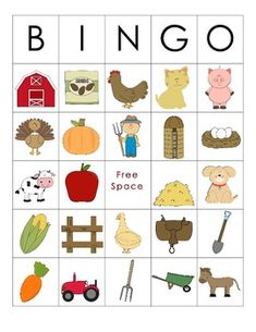 Free on TPT- Practice farm-themed vocabulary words and inferences while playing this fun BINGO game. All you need to do is laminate the BINGO cards and cut out . Farm Activities, Animal Activities, Farm Games, Farm Party Games, Barnyard Party, Farm Lessons, Farm Animal Crafts, Farm Day, Farm Unit