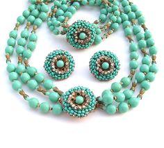 Vintage Miriam Haskell Jewelry Set Art déco bijoux Turquoise verre Collier Bracelet boucle d'oreille / signé cadeaux femmes