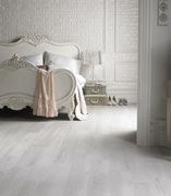 Karndean's Van Gogh White Washed Oak + creamy white furnishings and glam accessories = luxurious boudoir