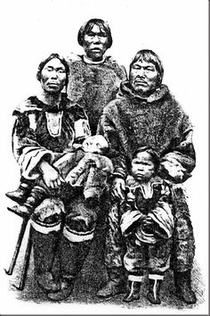 Family of Labradorean Inuit in Hamburg or Berlin Zoo (1880)