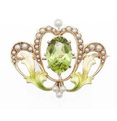 Art Nouveau 14k Gold Enamel Peridot Pearl Pin Watch Holder.
