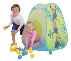 RZOnlinehandel - Zelt Pop-up Minions mit Bällen 74236 Pop Up, Minions, Toy Chest, Storage Chest, Kids Rugs, Home Decor, Polka Dot, Blue, Outdoor Camping
